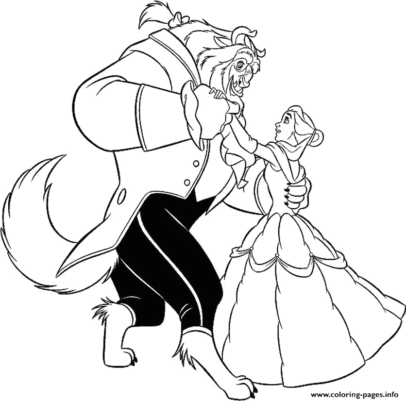 belle dancing with beast s965b printable coloring pages book 7382