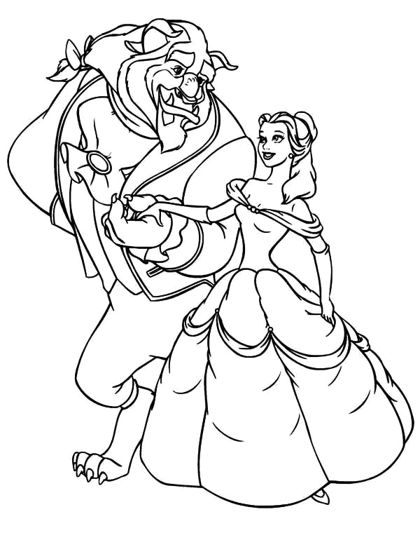 the beast invite belle to dance coloring page 2
