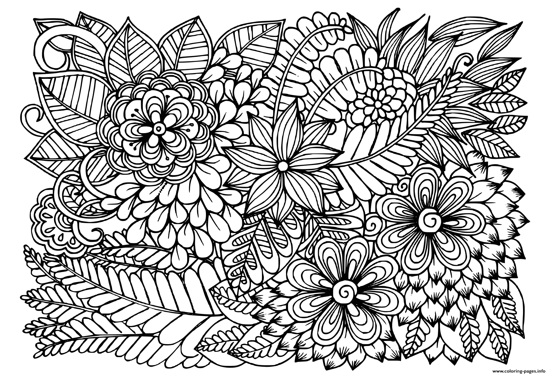 Black and White Coloring Pages Of Flowers Doodle Flowers In Black and White Floral Pattern Coloring
