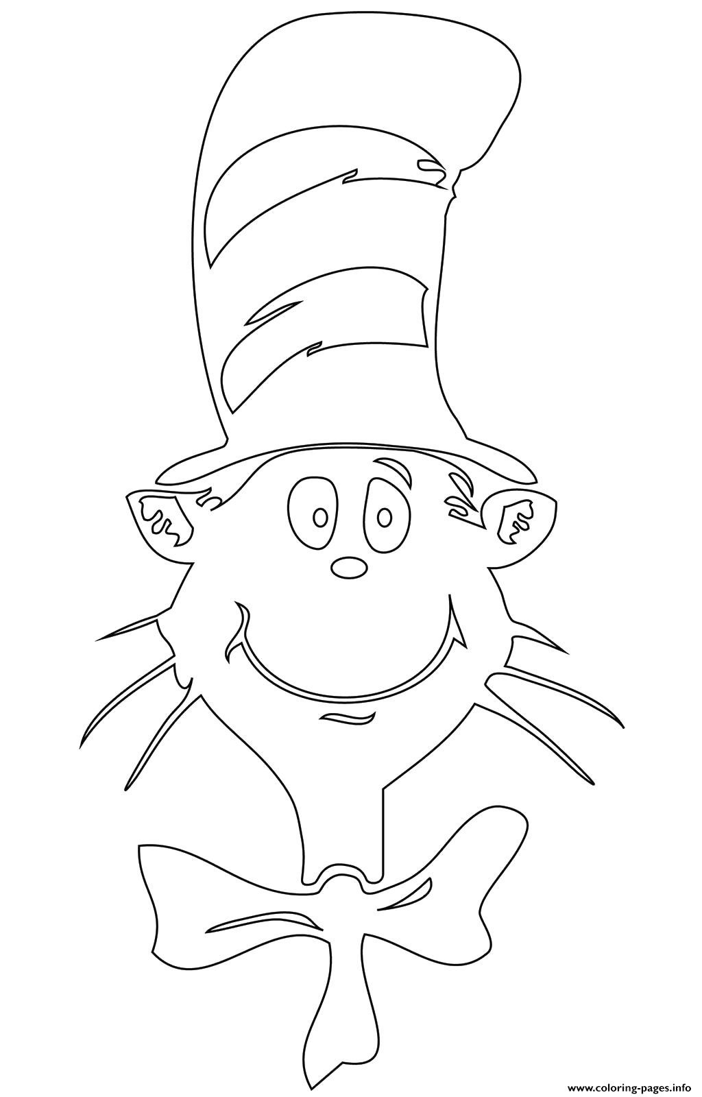 cat in the hat face printable coloring pages book