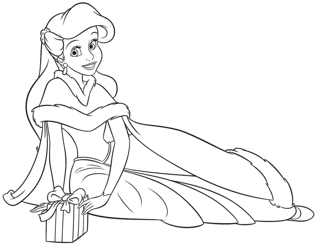 disney princess coloring pages ariel in a dress