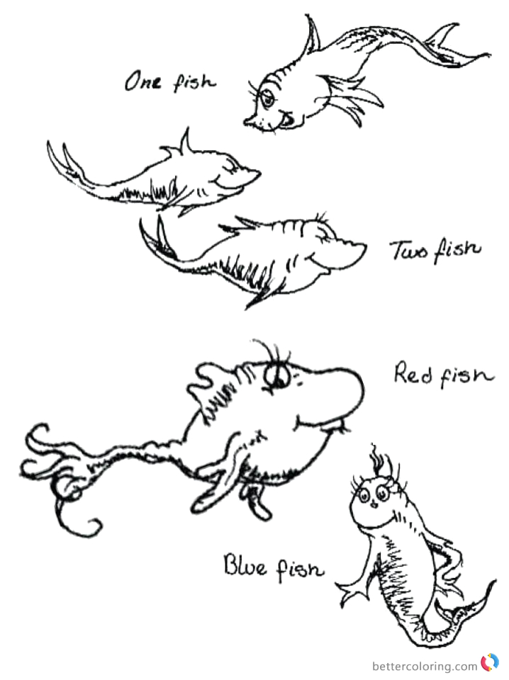 dr seuss one fish two fish coloring pages colorful fishes