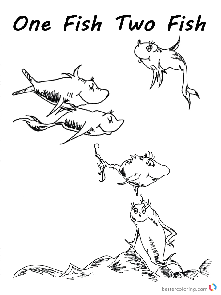 dr seuss one fish two fish coloring pages fishes clip art