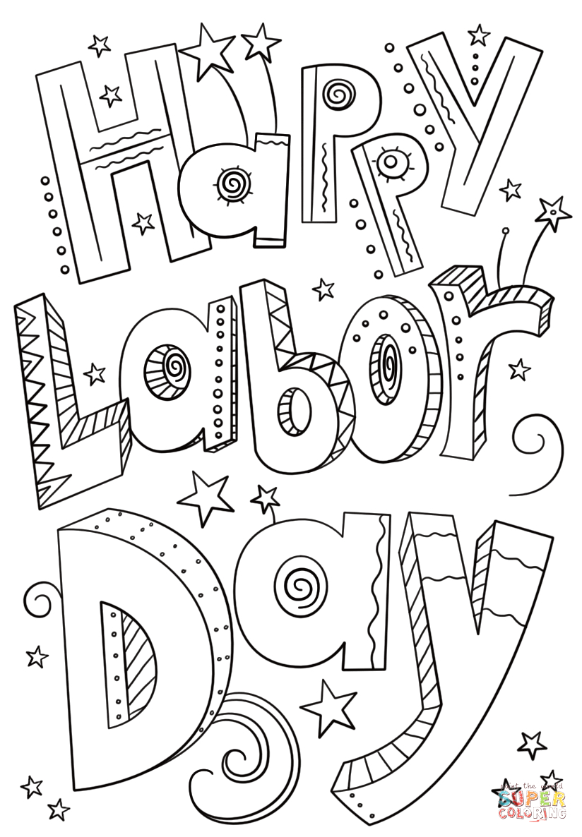 Free Labor Day Coloring Pages for Kids Happy Labor Day Doodle Coloring Page