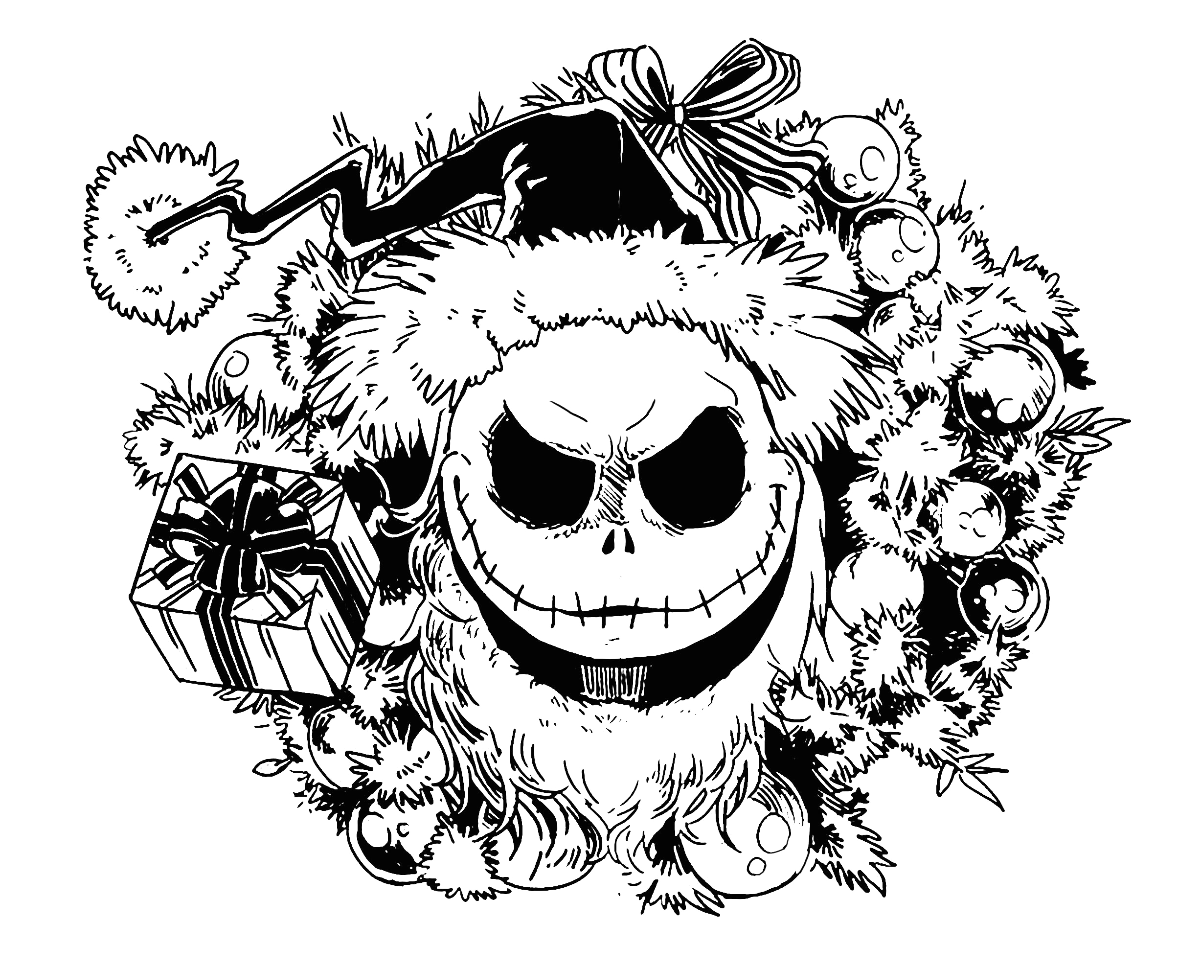 Free Nightmare before Christmas Coloring Pages Printable Nighmare before Christmas Christmas Adult Coloring Pages