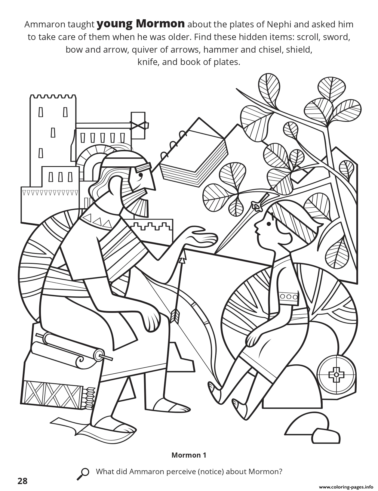 ammaron taught young mormon about the plates of nephi printable coloring pages book