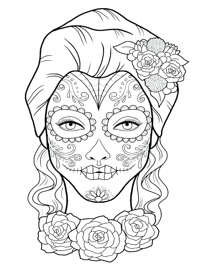 day of the dead mask coloring page