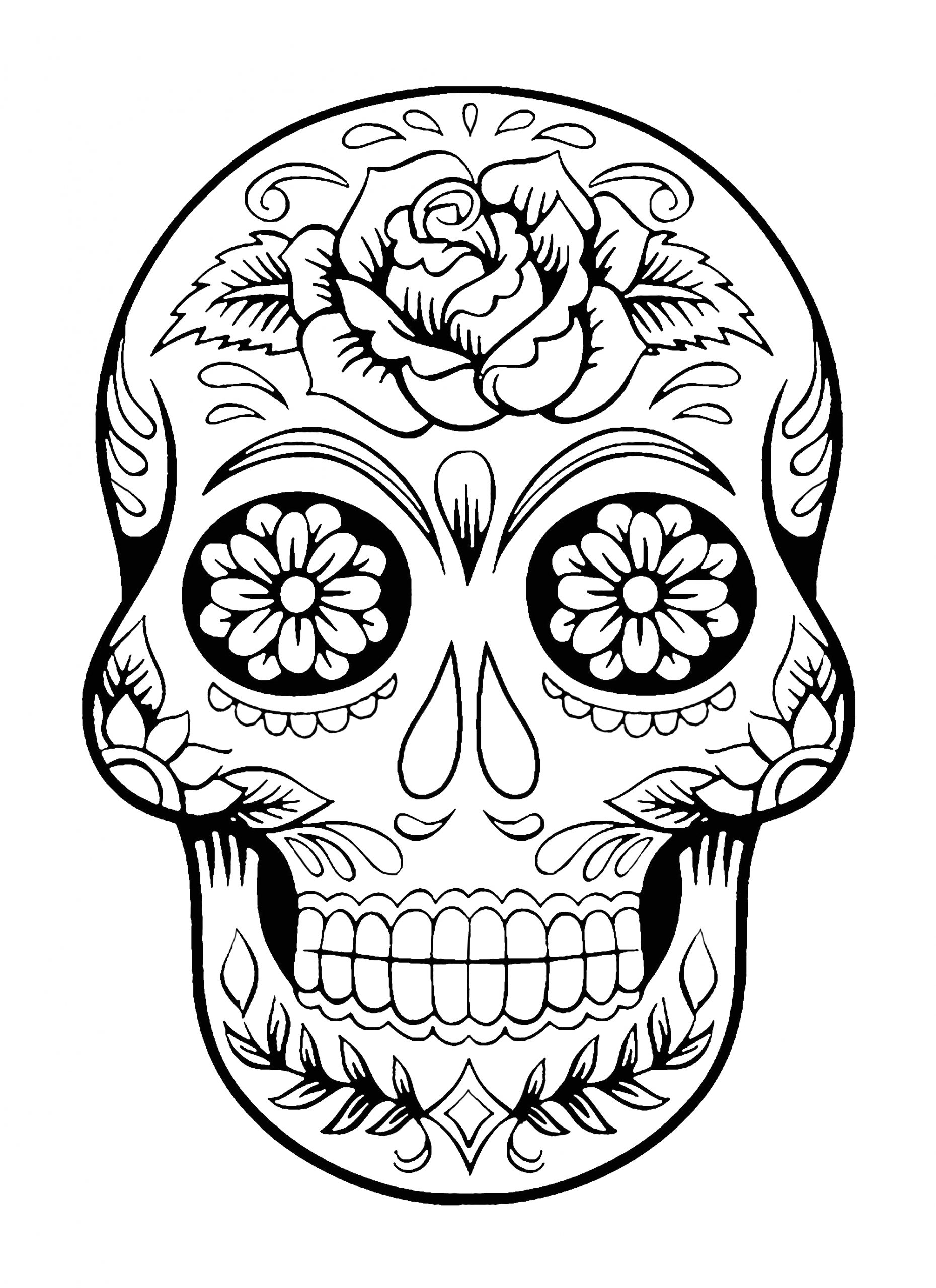 Free Printable Dia De Los Muertos Coloring Pages Skull Coloring Pages for Adults