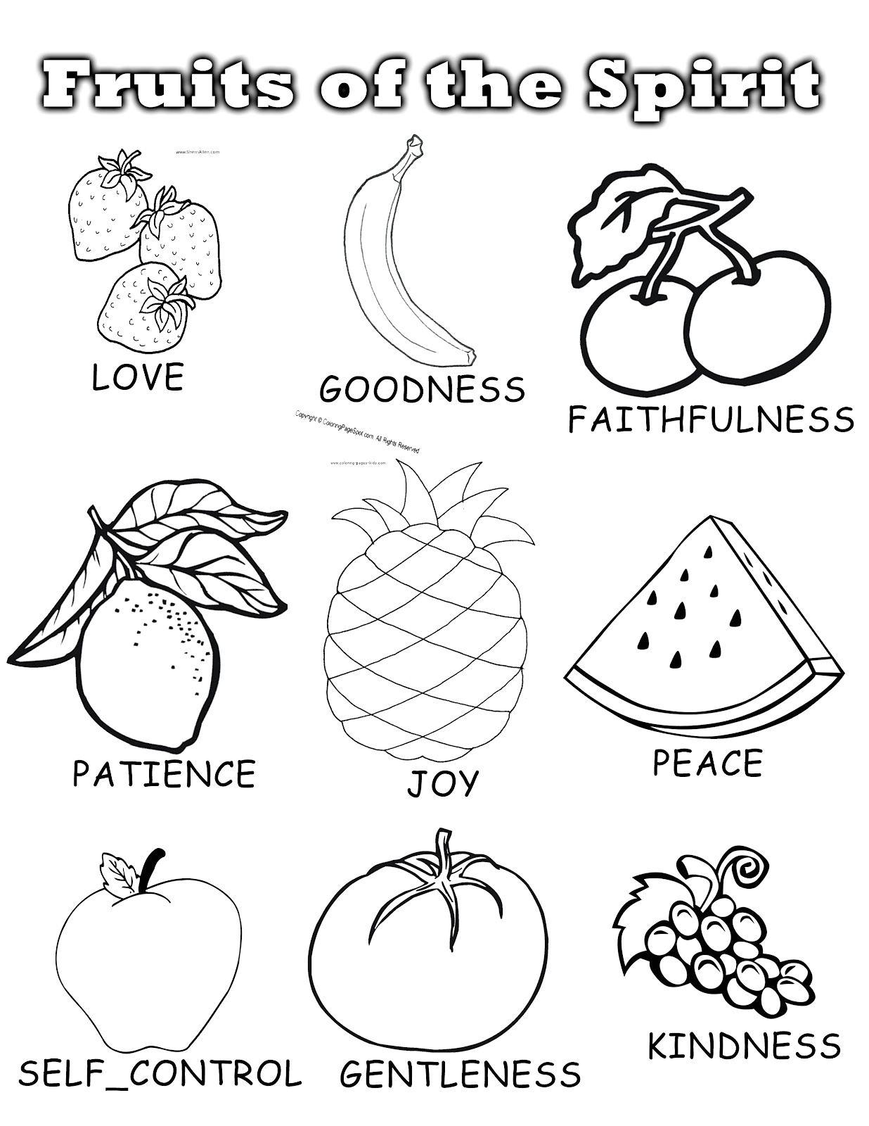 Free Printable Fruit Of the Spirit Coloring Pages Penny Pinching Mom Fruits Of the Spirit Sunday School Unit