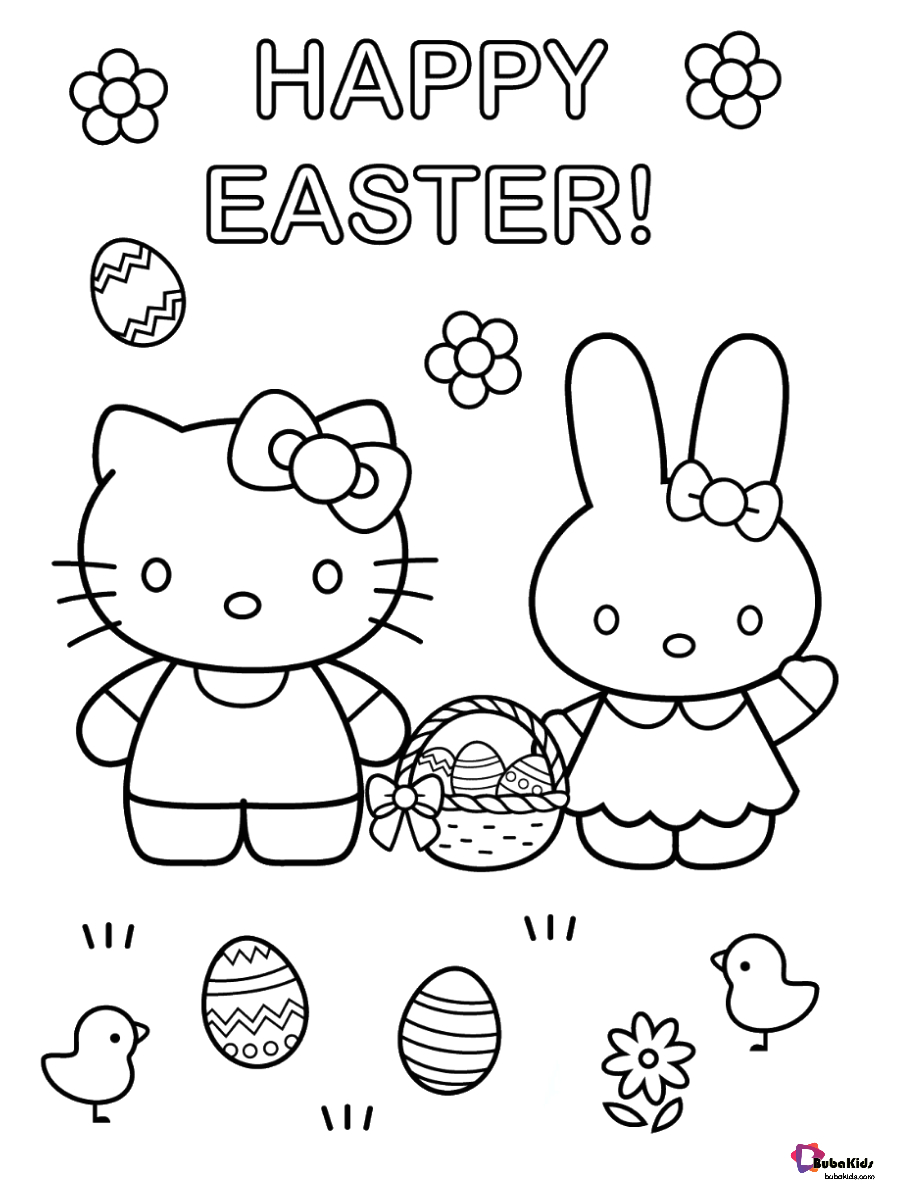 happy easter hello kitty and easter bunny easter eggs coloring page
