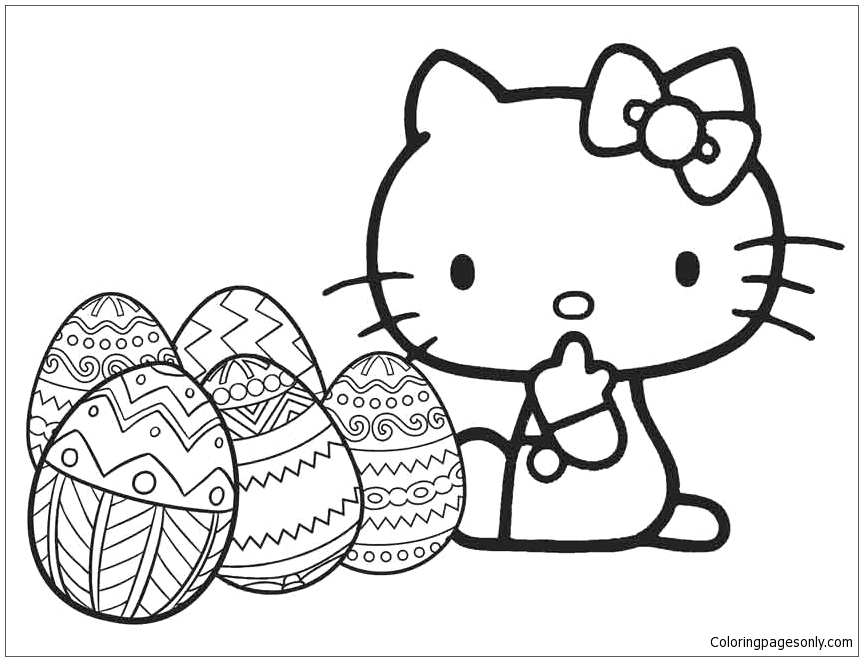 hello kitty with easter egg
