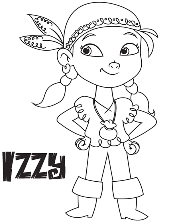 izzy the vice captain of never land pirates coloring page 2