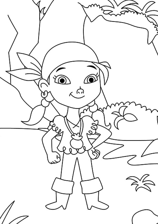 izzy the young pirate girl from the neverland pirates team coloring page