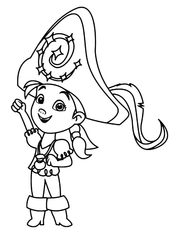 izzy wearing a big captain hat coloring page