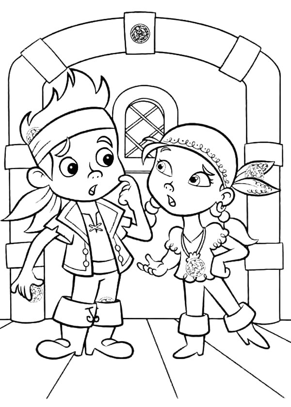 jake and izzy in arguing coloring page