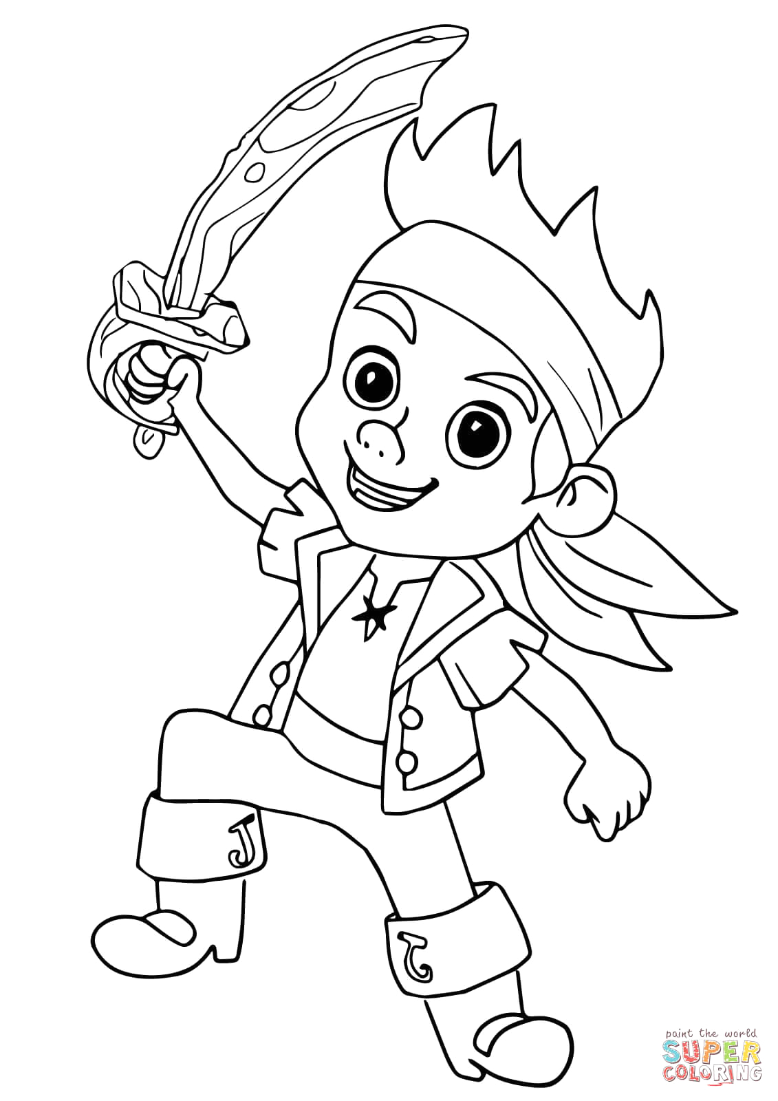 Jack and the Neverland Pirates Coloring Pages Printable Jake Pirate Coloring Page