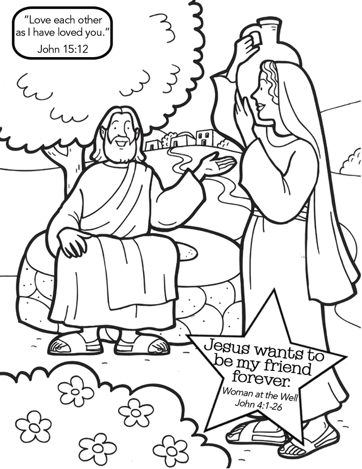 jesus with samaritan woman at the well coloring page sketch templates