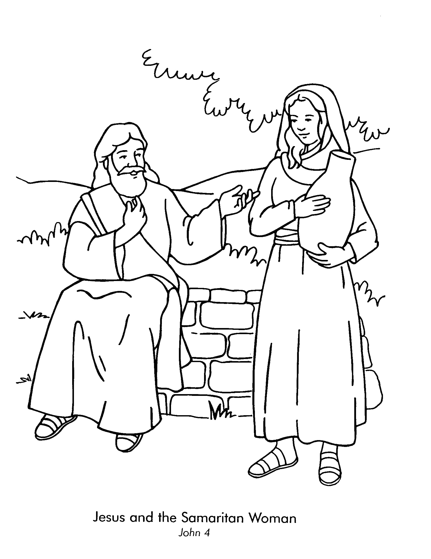 Jesus and the Samaritan Woman Coloring Page Woman at the Well