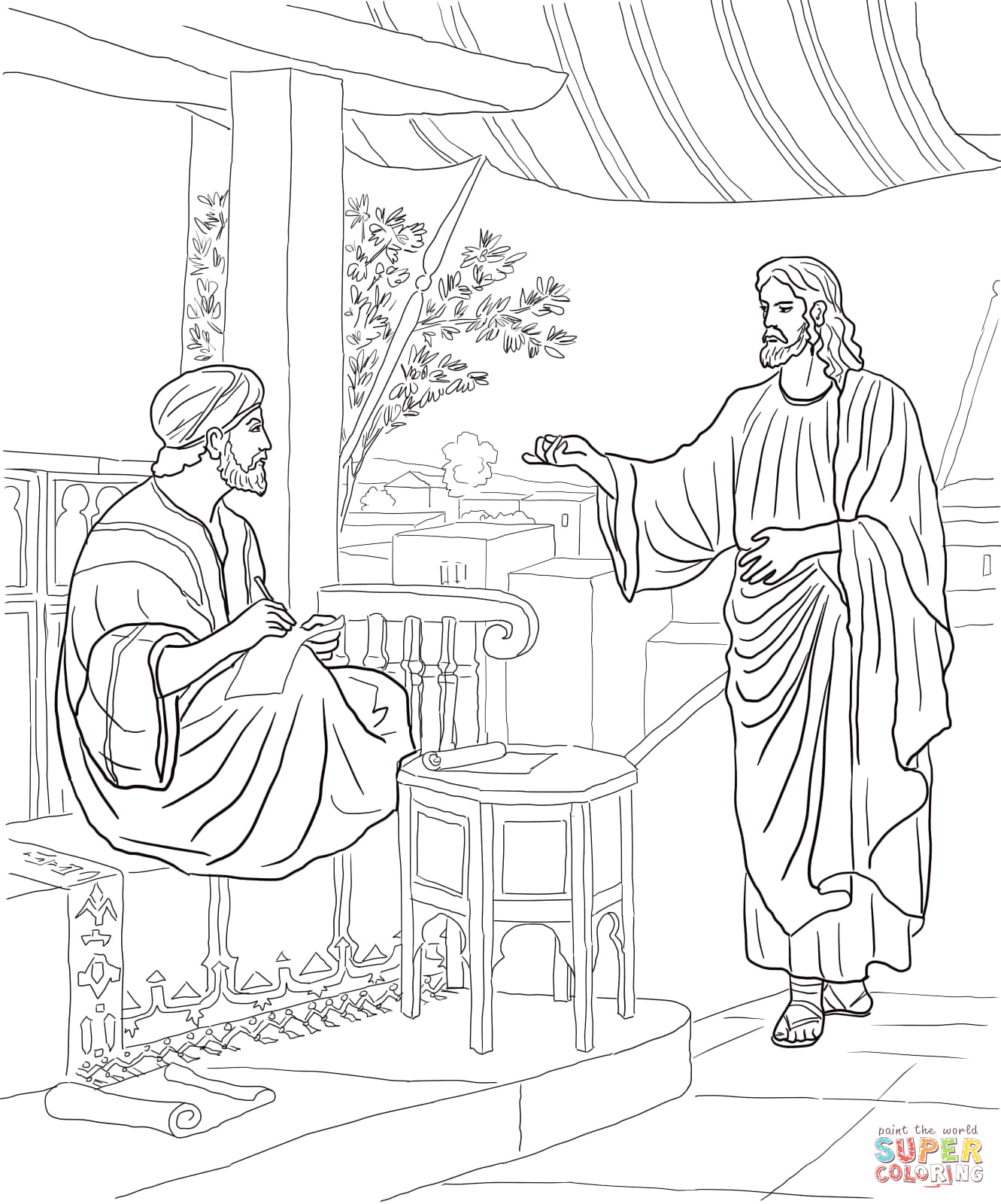 Jesus Calls Matthew the Tax Collector Coloring Page Jesus Calls Matthew Coloring Page