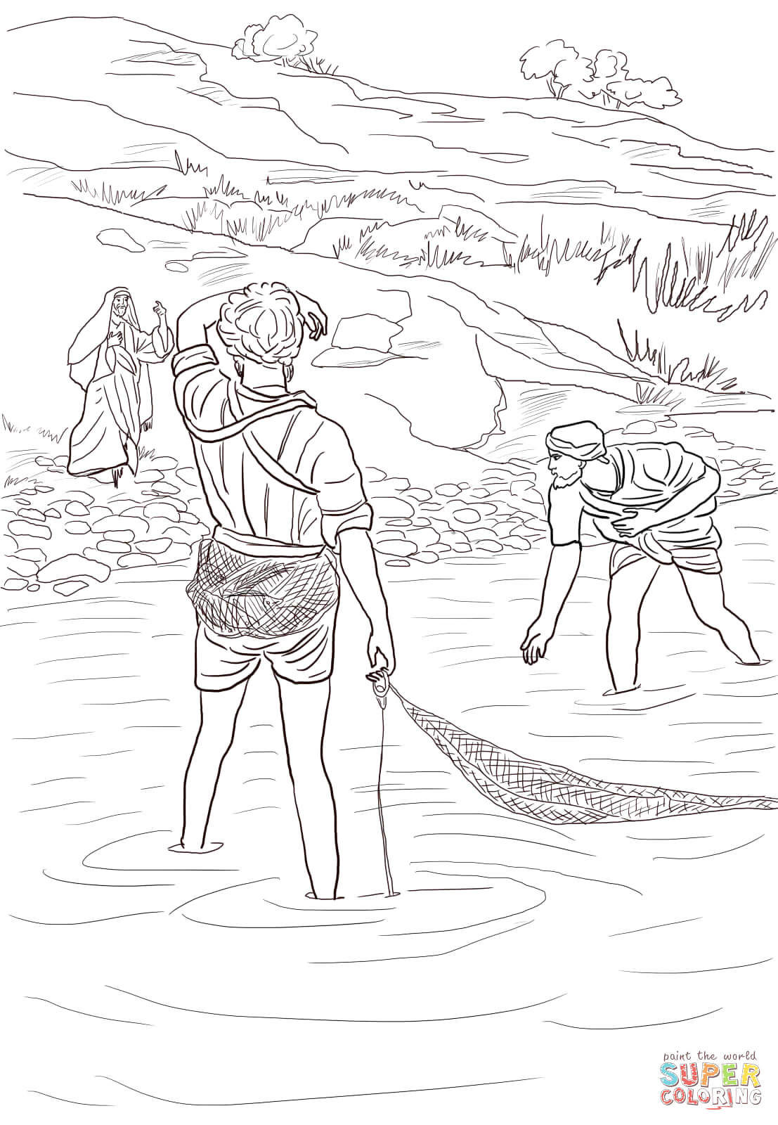 Jesus Calls Peter and andrew Coloring Page Jesus Calls Peter and andrew Coloring Page