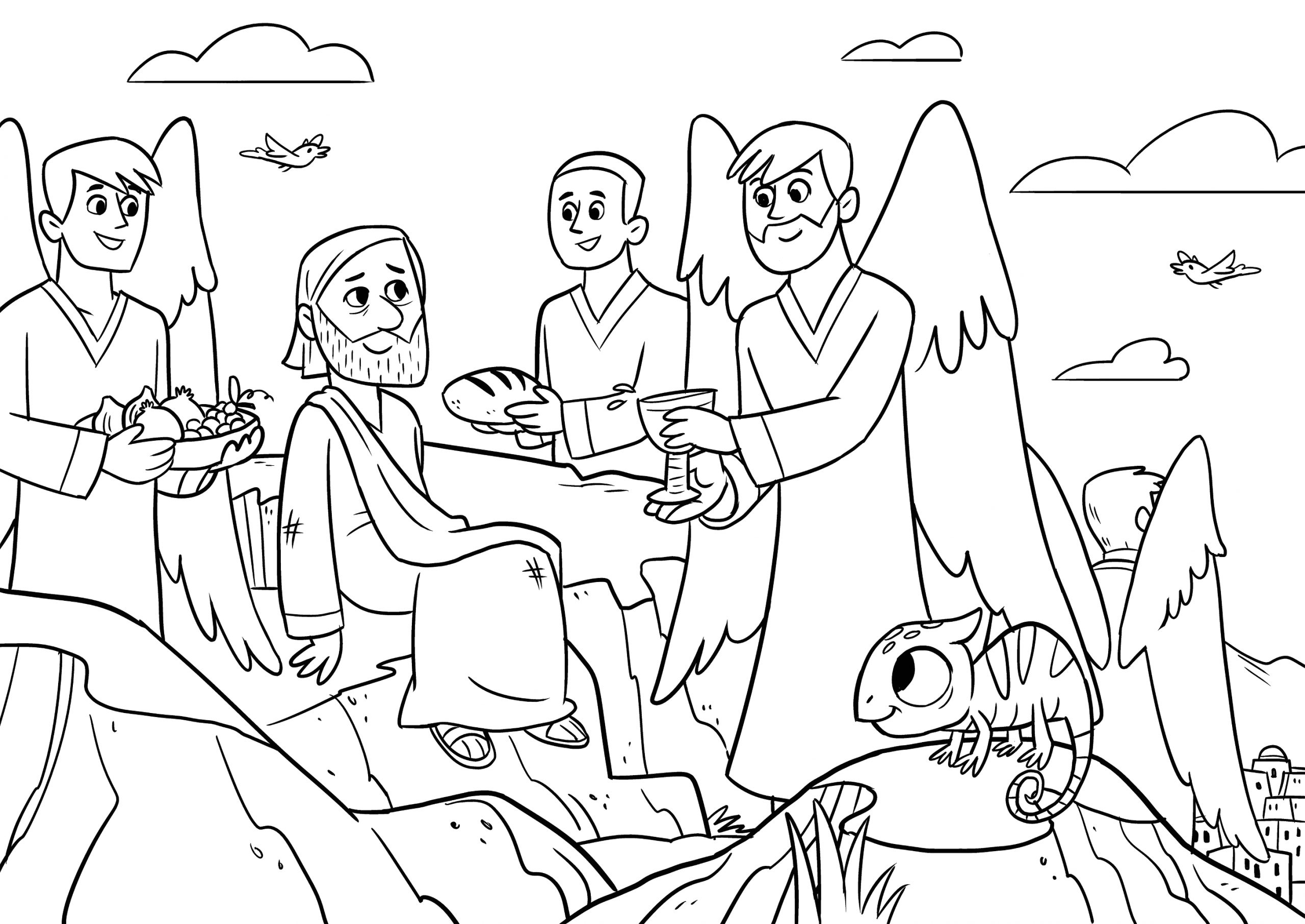Jesus is Tempted In the Desert Coloring Page Jesus Temptation Coloring Page at Getcolorings