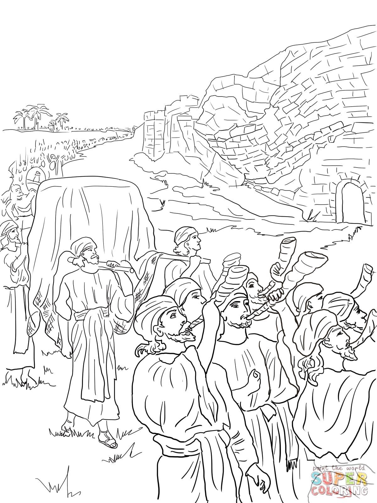 Joshua and the Battle Of Jericho Coloring Page Joshua and the Fall Of Jericho Bible Coloring Pages