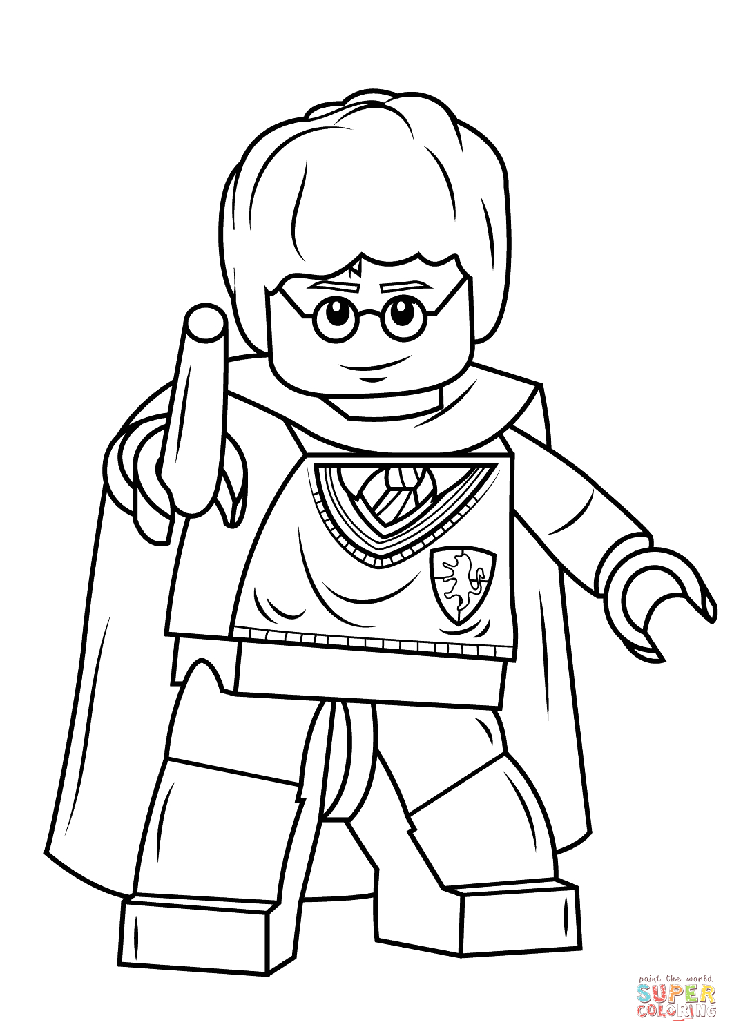 Lego Harry Potter Coloring Pages to Print Lego Harry Potter with Wand Coloring Page