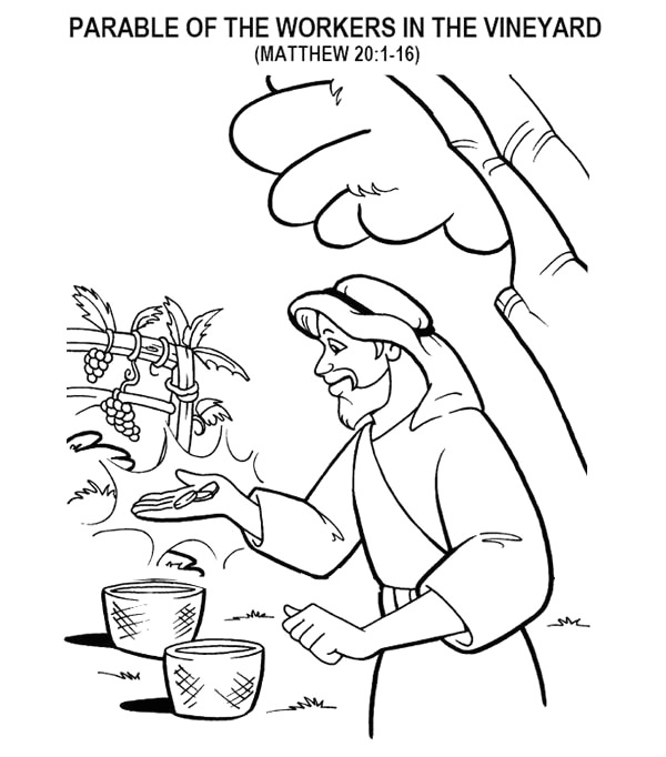 parable of the workers in the vineyard in parable of the sower coloring page