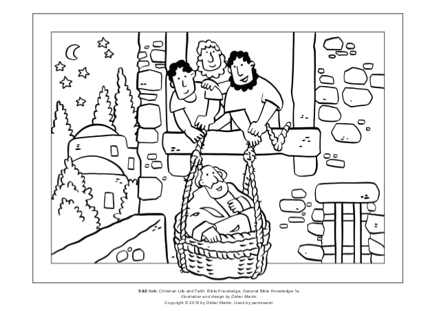 coloring page the acts of the apostles saul escapes in a basket