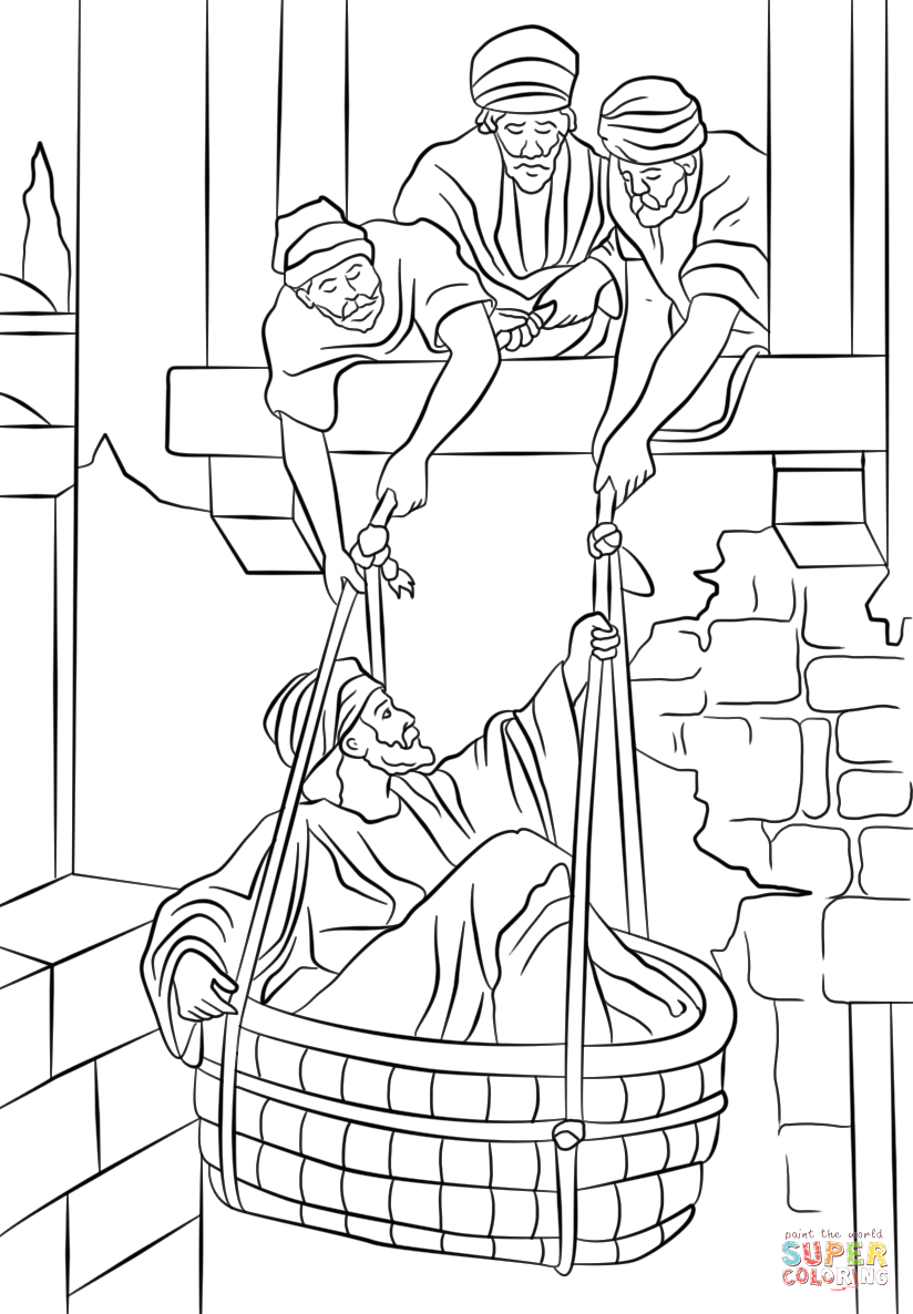 Paul Escapes In A Basket Coloring Page Paul Escapes In A Basket Super Coloring