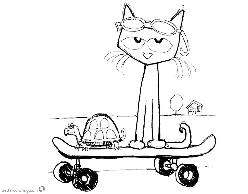 Pete the Cat at the Beach Coloring Page Pete the Cat Coloring Pages Fanart Play Skateboard Free