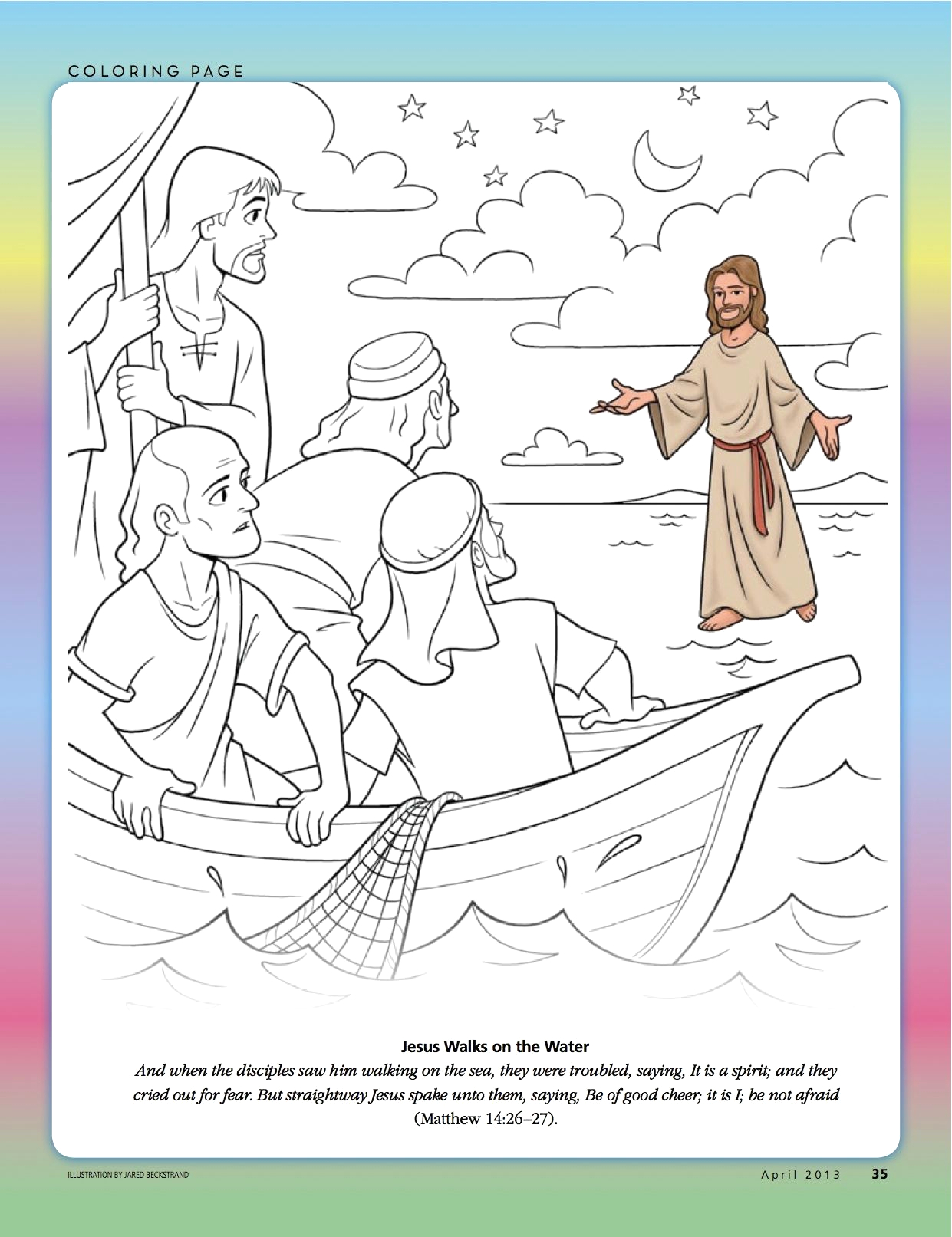 bible coloring pages peter walks on