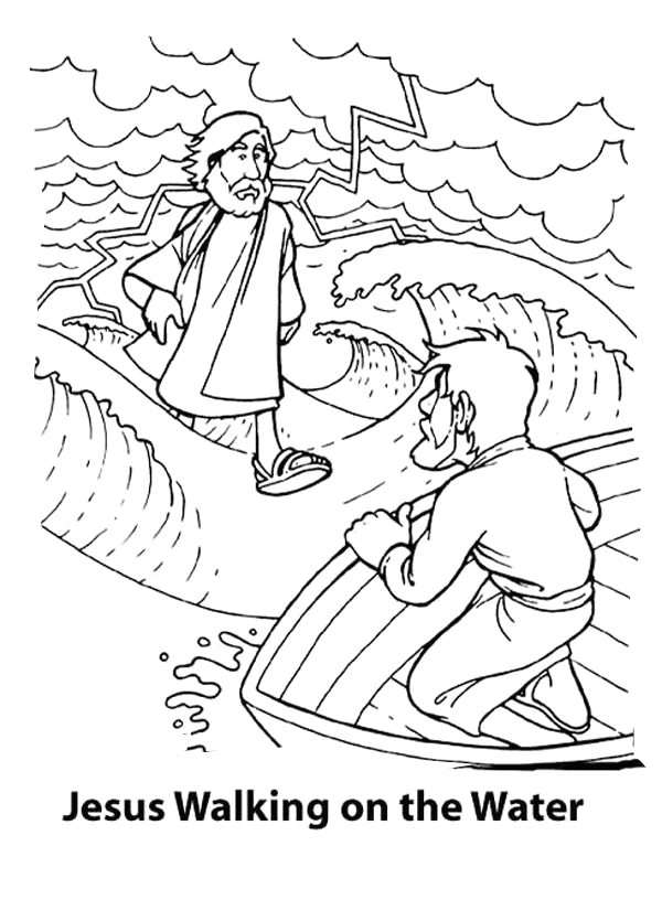 peter walks on water coloring pages