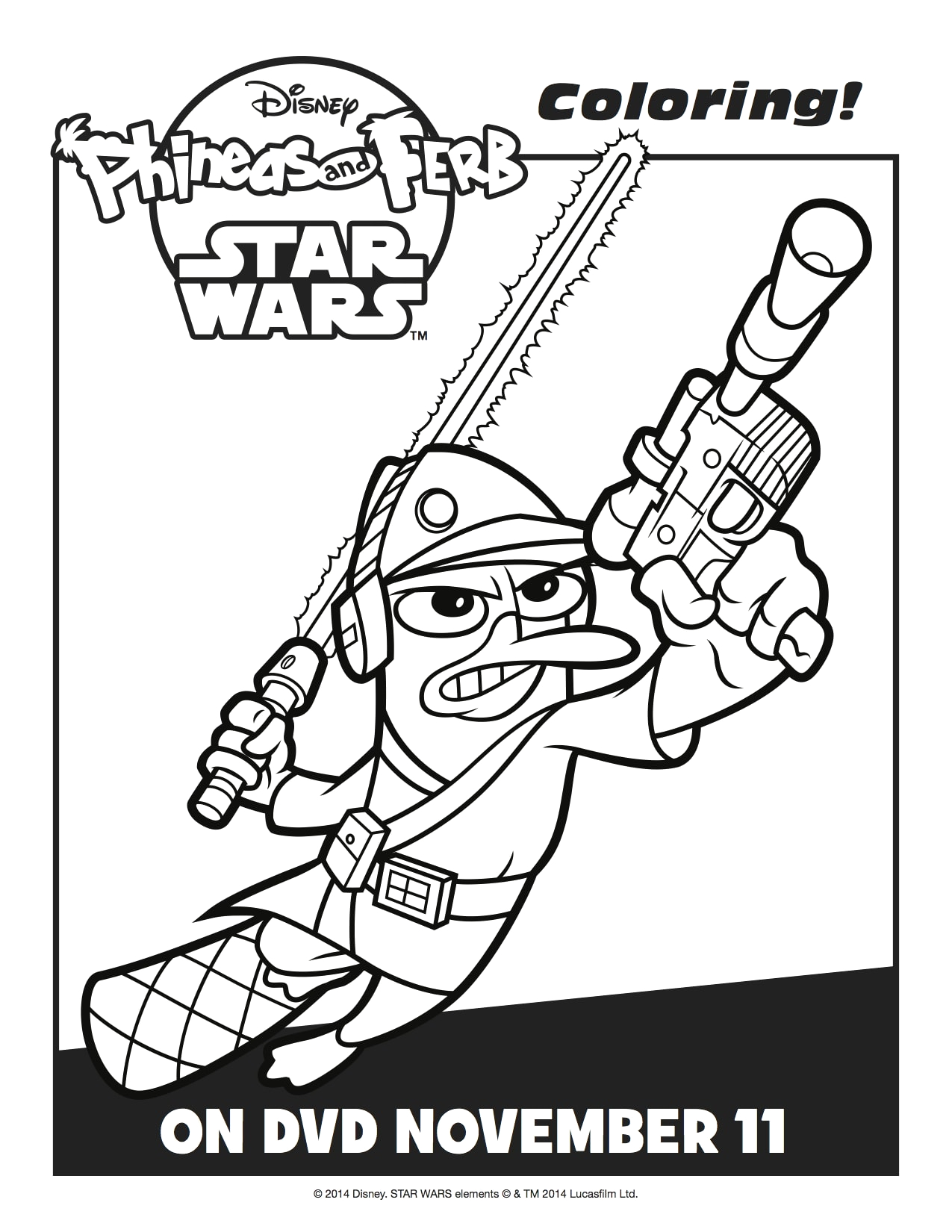 """Phineas and Ferb Star Wars Coloring Pages """"phineas and Ferb Star Wars"""" Free Activity Sheets Lady"""
