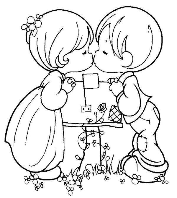 boy and girl precious moment coloring page