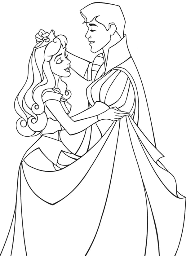 princess aurora dance with prince phillip in sleeping beauty coloring page