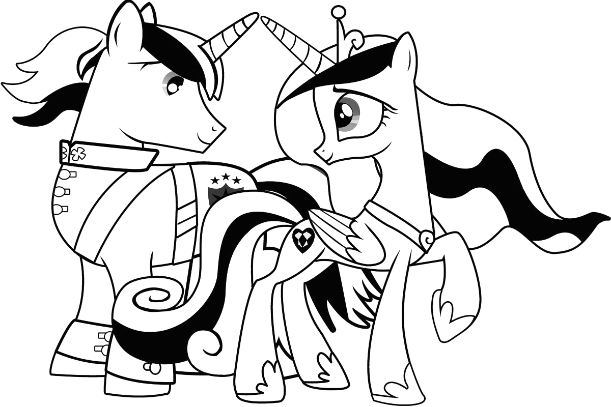 little pony colouring sheets cadance shining armour photo