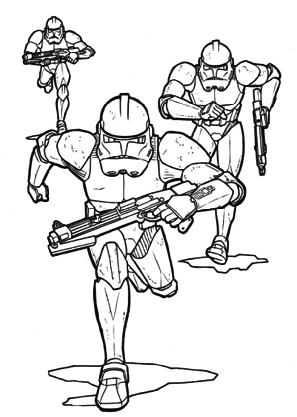 the clone troopers pursuing in star wars coloring page