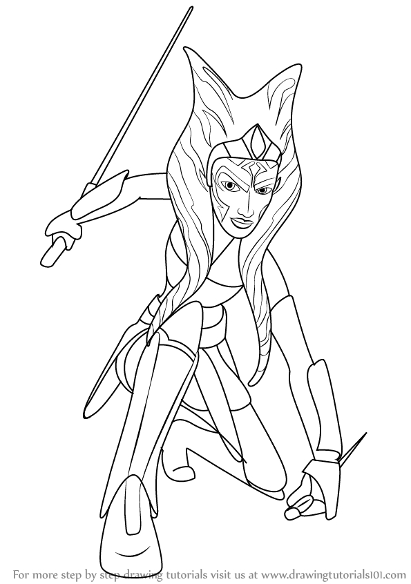 how to draw ahsoka tano from star wars step by step