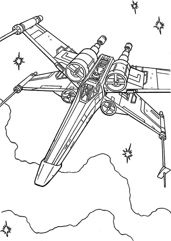 Star Wars X Wing Fighter Coloring Page X Wing Fighter In Star Wars Coloring Page Download