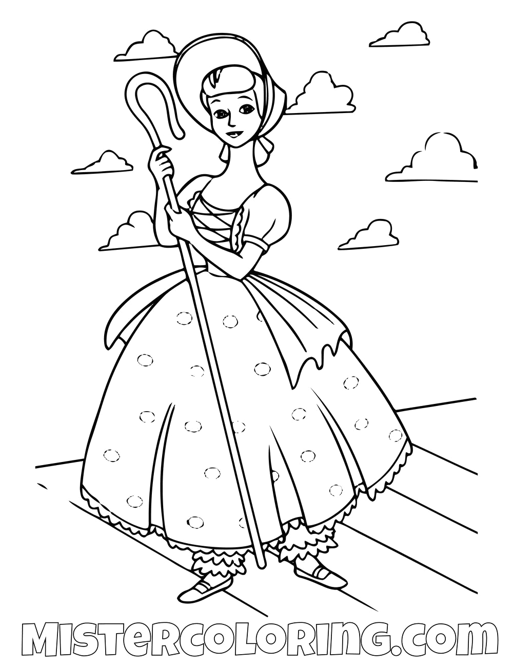 disney bo peep coloring pages