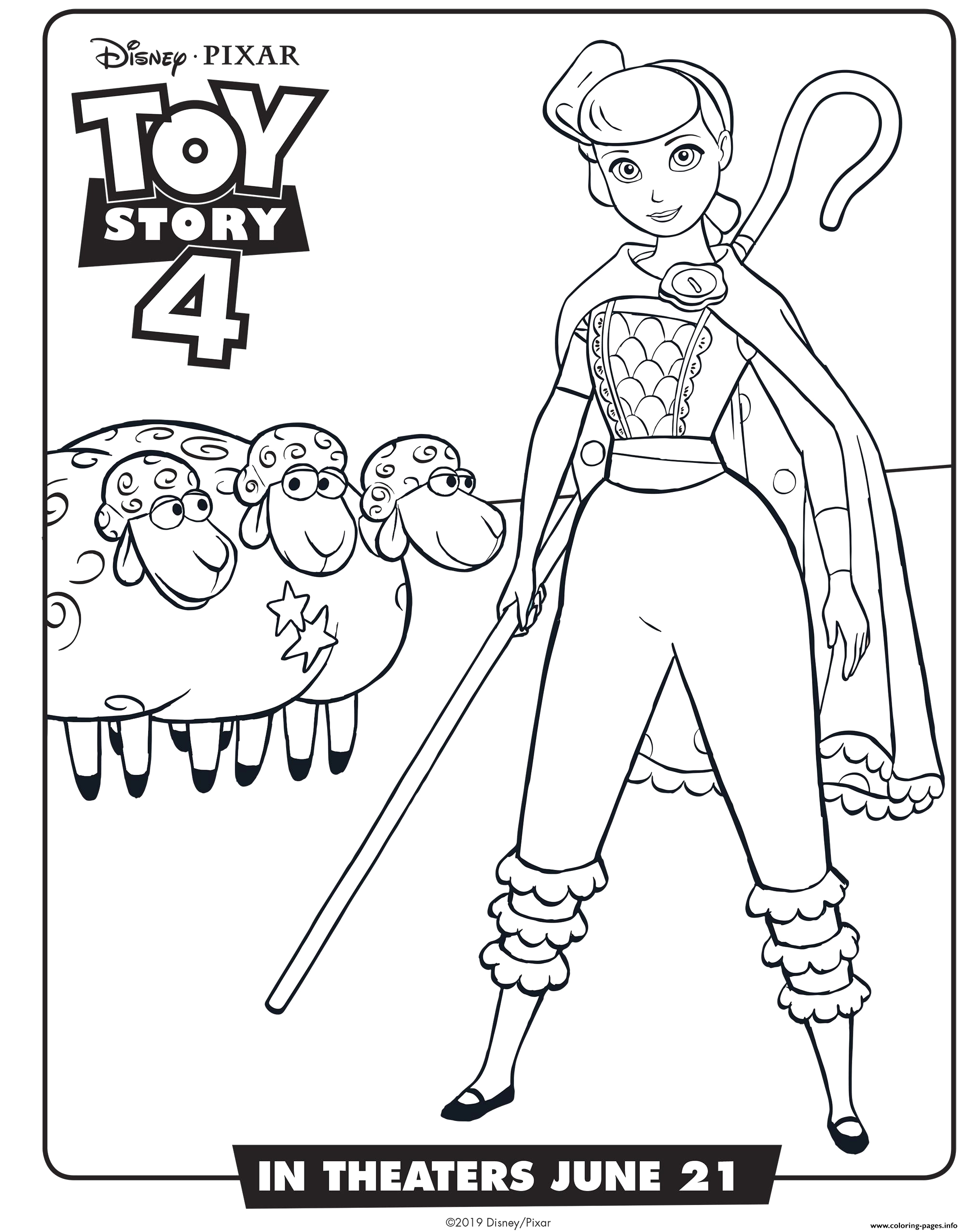 Toy Story 4 Coloring Pages Bo Peep toy Story 4 Bo Peep Coloring Pages Printable