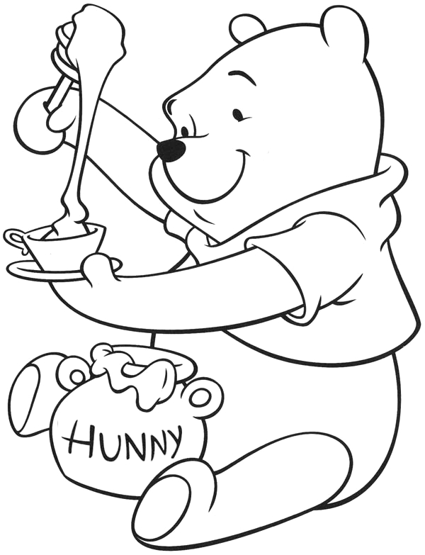 winnie the pooh enjoying tea with honey coloring page