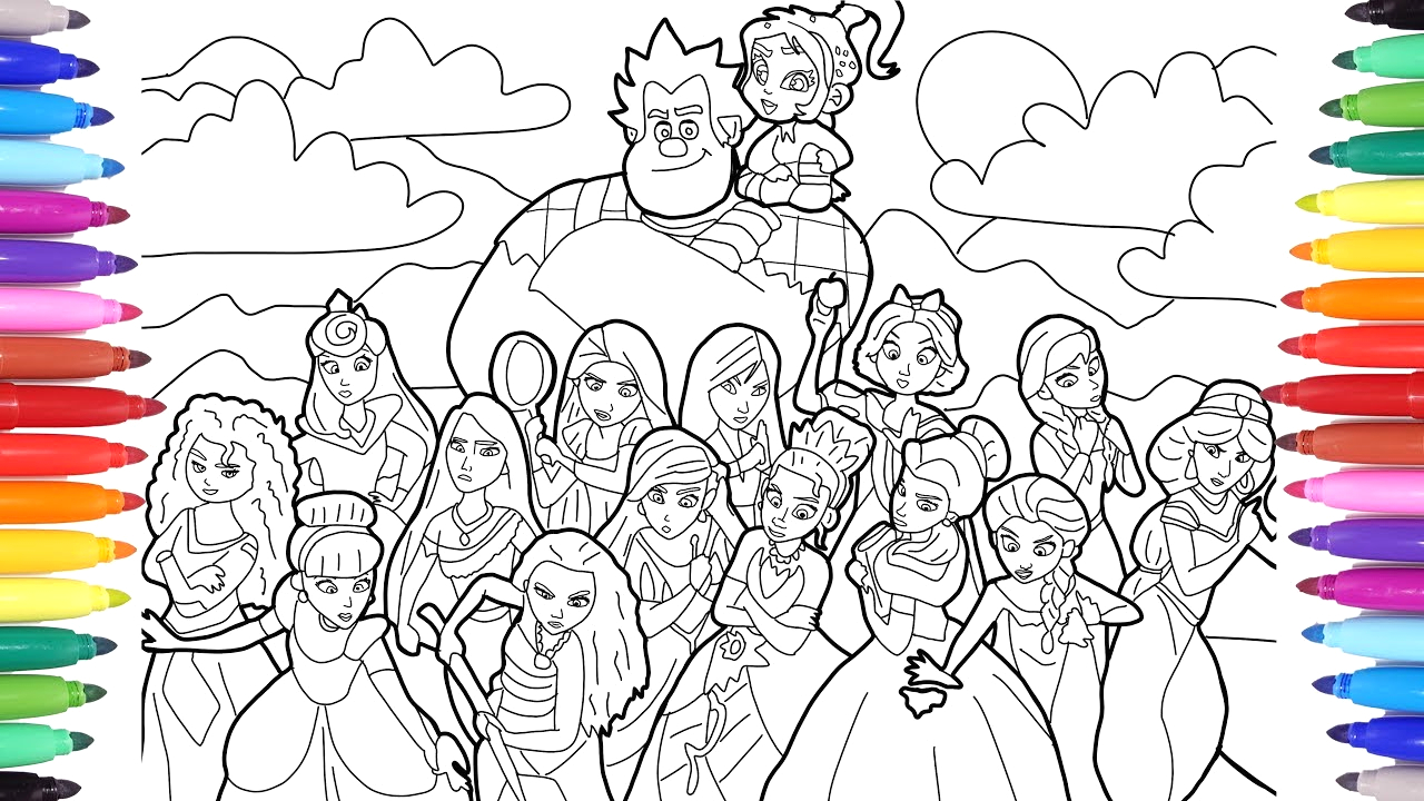 Wreck It Ralph 2 Princesses Coloring Pages Ralph Breaks the Internet Wreck It Ralph 2 Coloring Pages