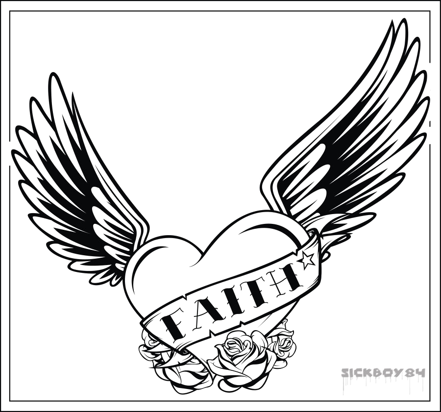 Coloring Pages Of Hearts with Wings and Roses Drawing Of A Heart with Wings Clip Art Library