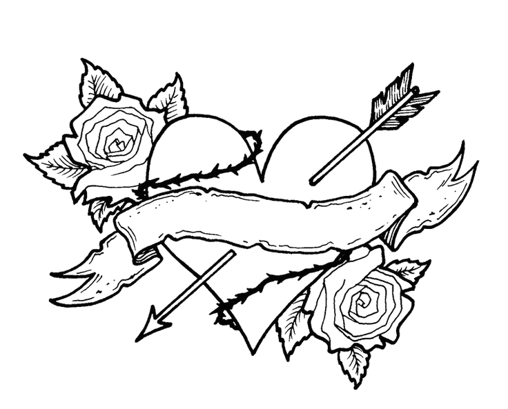 heart with wings coloring pages