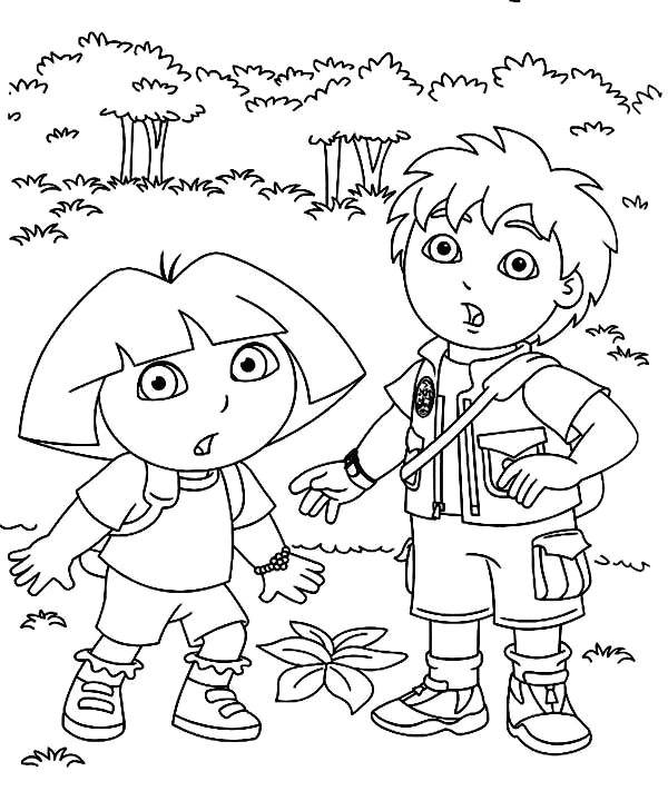 Dora the Explorer and Diego Coloring Pages Dora and Diego In the forest In Dora the Explorer Coloring
