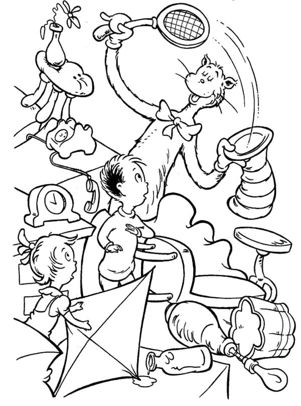 dr seuss the cat in the hat had everything inside his hat coloring page