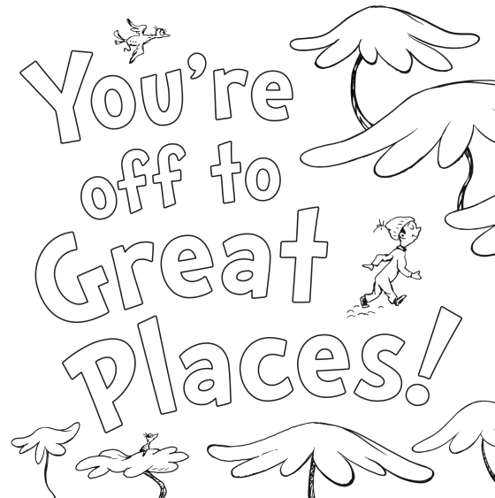 dr seusss oh the places youll go coloring book by dr seuss