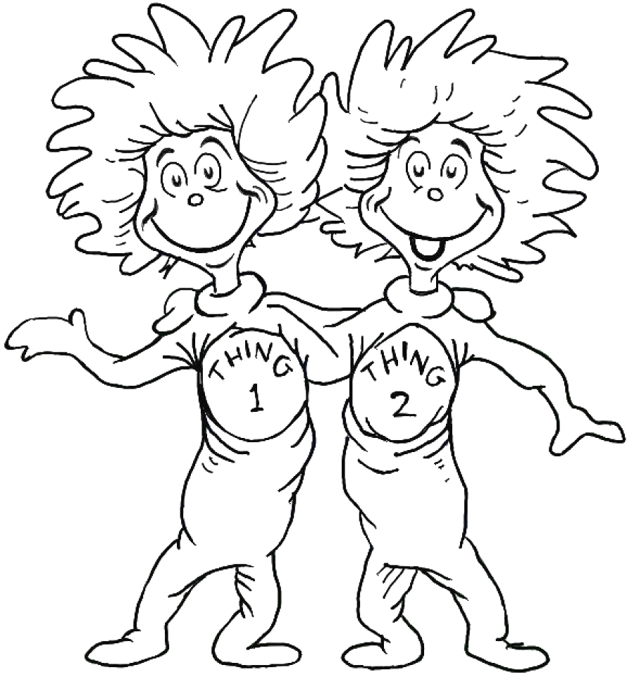 Dr Seuss Coloring Pages Thing 1 and Thing 2 Thing 1 and Thing 2 Coloring Page